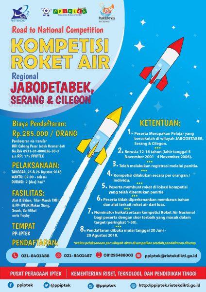 Poster Kompetisi Roket Air Regional Jabodetabek, Serang, dan Cilegon  - roket air 2018 424x600 - Santri Pondok Pesantren Daar el Qolam 2 di Kompetisi Roket Air PP-IPTEK 2018