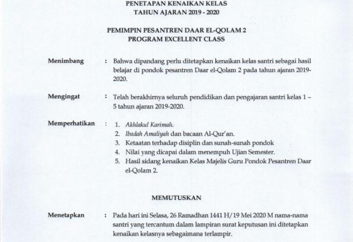 Surat Keputusan Pengumuman Kenaikan Kelas Daar el-Qolam 2 Tahun Ajaran 2019/2020