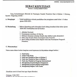 Surat Keputusan Kenaikan Kelas Daar el-Qolam 1 2020/2021