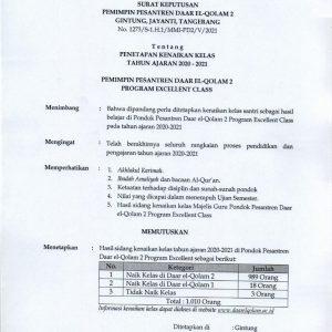 Surat Keputusan Kenaikan Kelas Daar el-Qolam 2 2020/2021